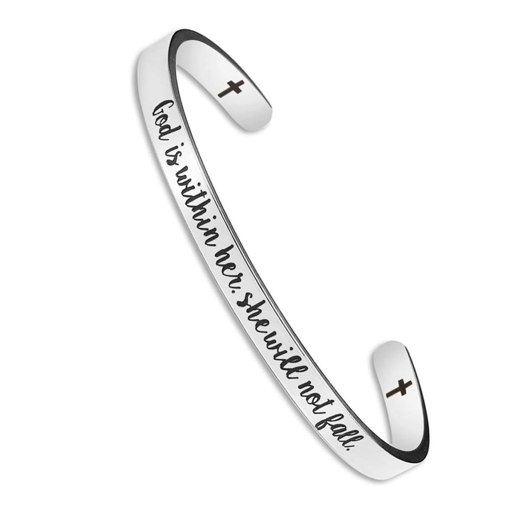 Jeka Inspirational Cuff Bangle Bracelet Stainless Steel Mantra Quote Bible Engraved Gift for Women Teen Girls