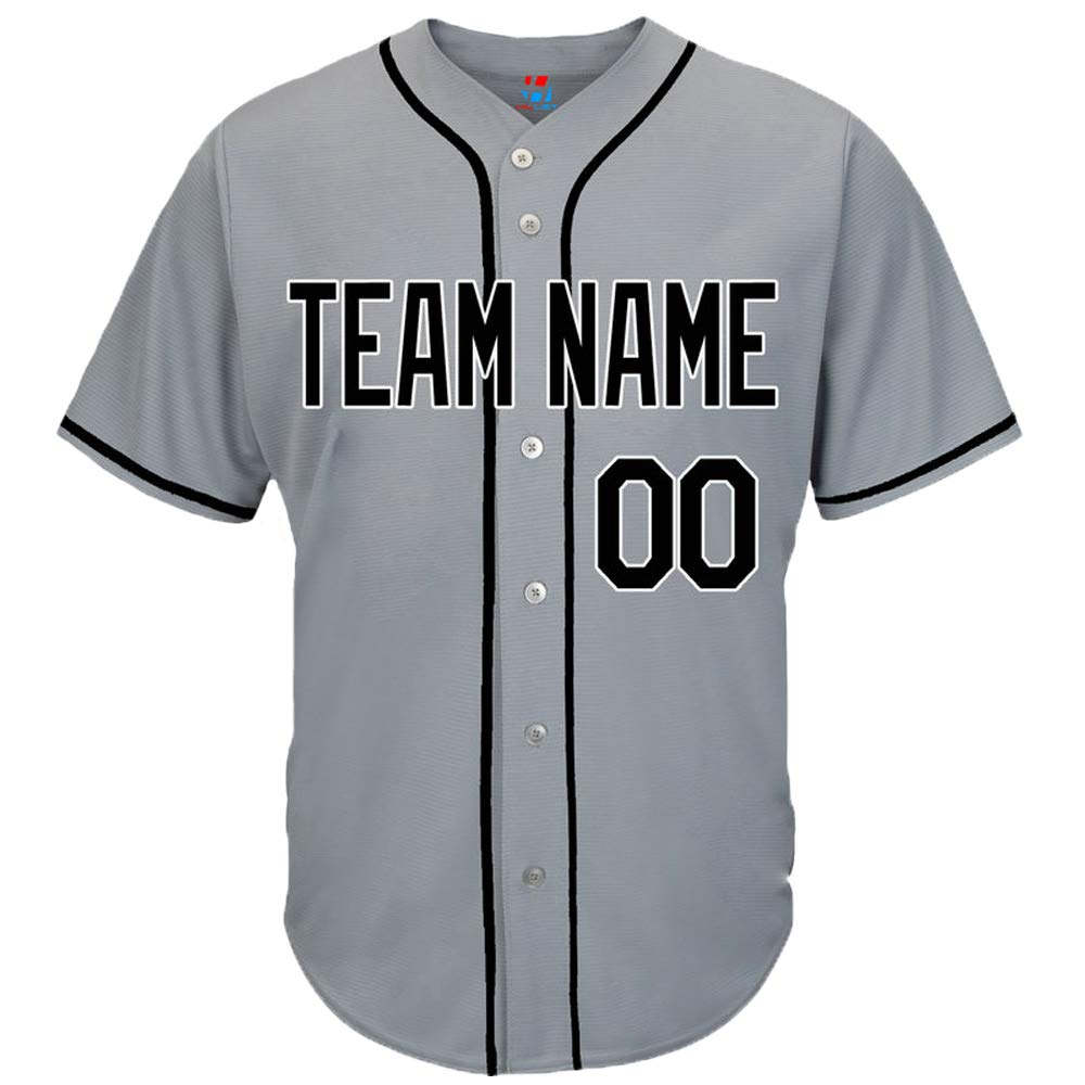 Pullonsy Gray Custom Baseball Jersey for Men Women Youth Button Down Sewn Player Name & Numbers S-8XL - Design Your Own