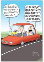NobleWorks - Funny Card for Father's Day - Hilarious Dads Greeting Notecard with Envelope - Are We There Yet 5312
