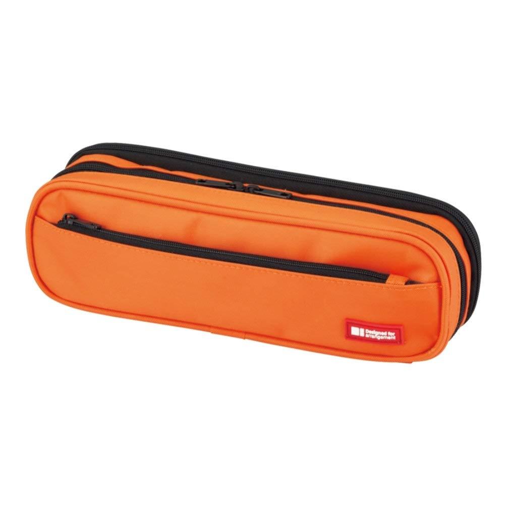 LIHIT LAB. Double Zipper Pen Case, 9.4 x 2.4 x 3 inches, Orange (A7557-4)
