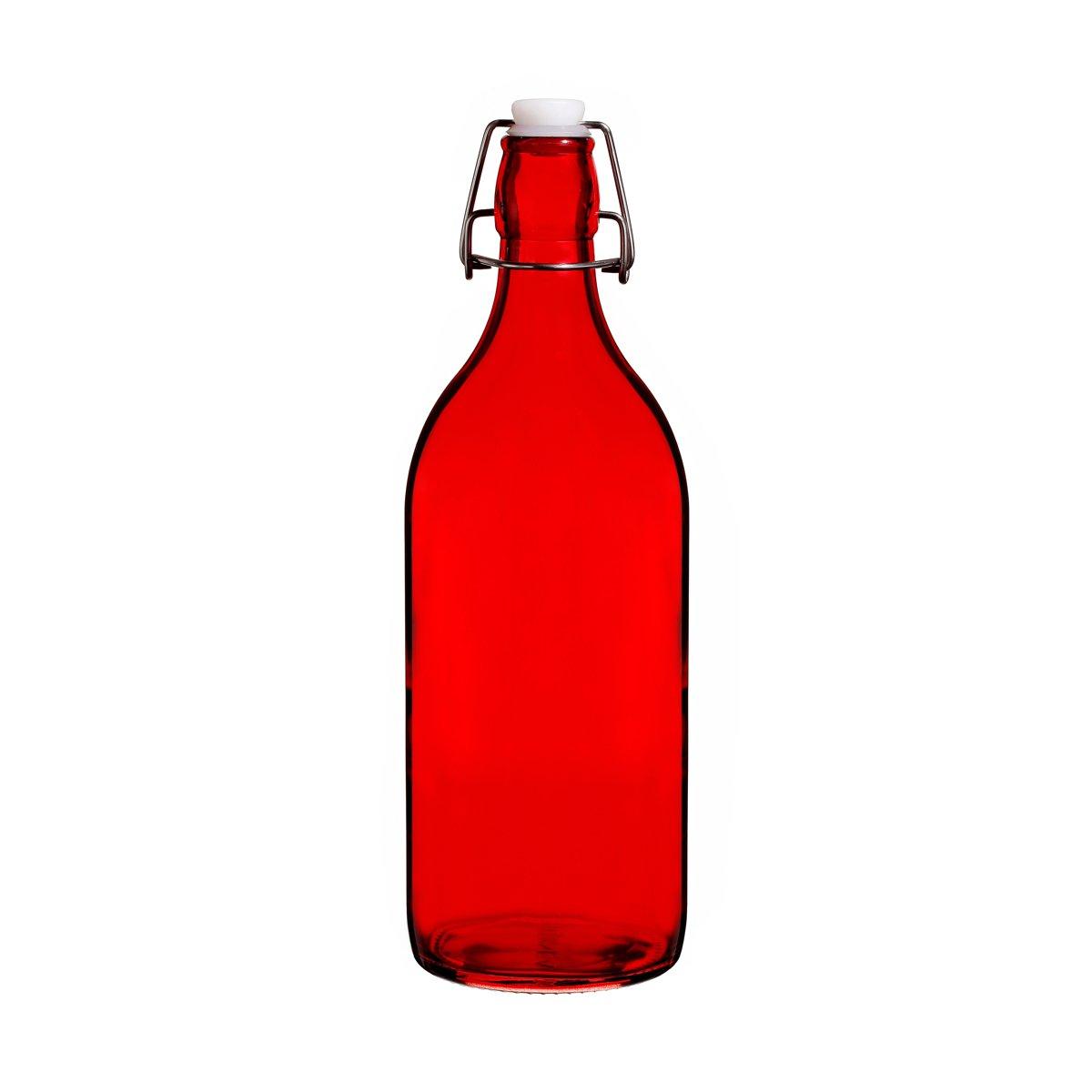 Colorful Reusable Glass Water Bottles With Swing Top Leakproof Cap, 1L / 34oz, Flowersea Glasss Water Bottle for Oil, Vinegar, Beverages, Beer, Water, Kombucha, Kefir, Soda (Red, Round)