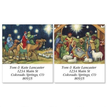 "Nativity Scene Square Chrismas Address Labels (2 Designs) - Set of 144 1-1/2"" x 1-3/4"" Self-Adhesive, Flat-Sheet Holiday Labels"
