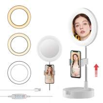 Selfie Ring Light with Phone Holder, Foldable LED Desk Lamp Dimmable Phone Make Up Ringlight Stand Extendable Makeup Mirror TIK Tok YouTube Video Vlog Recording Photography Tiktok Live Stream (White)