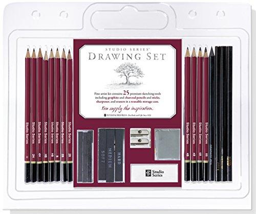 Studio Series 25-Piece Sketch & Drawing Pencil Set (Artist's Pencil and Charcoal Set)