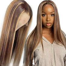 """Lace Front Human Hair Wigs with Baby Hair Balayage Ombre Brown to Blonde Lace Part 14"""" 150% Density Glueless Brazilian Remy Soft Straight Human Hair Middle Part 13x1 Lace Front Wigs for Women"""