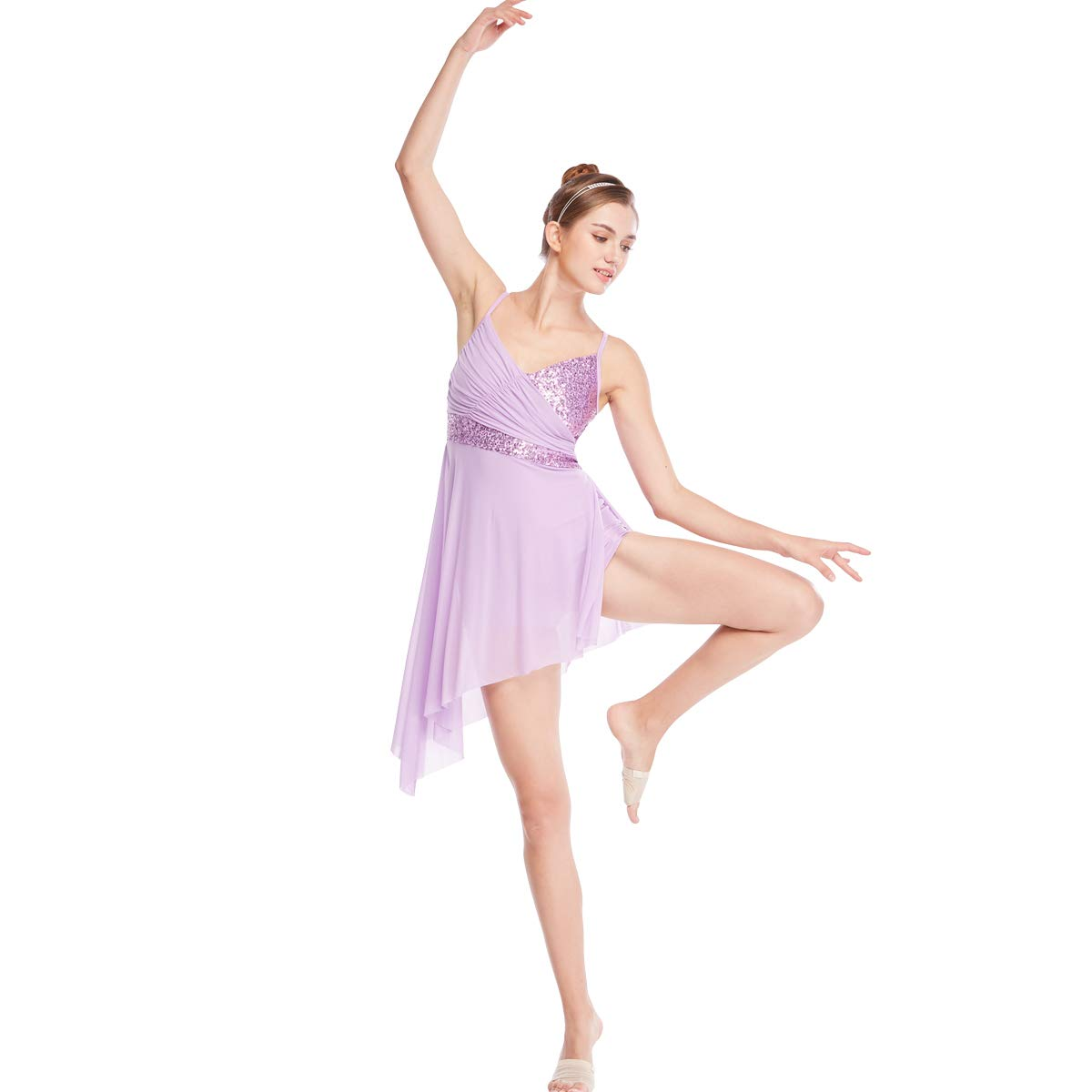 MiDee Latin Dance Costume V-Neck Sequined High-Low Lyrical Dress for Girls