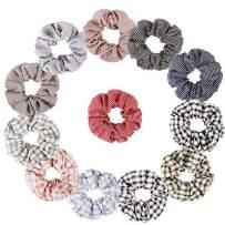 Jaciya 12 Pcs Cotton Scrunchies Striped Hair Scrunchies Hair Bow Chiffon Hair Ties Ponytail Holder for Women, 12 Assorted Colors