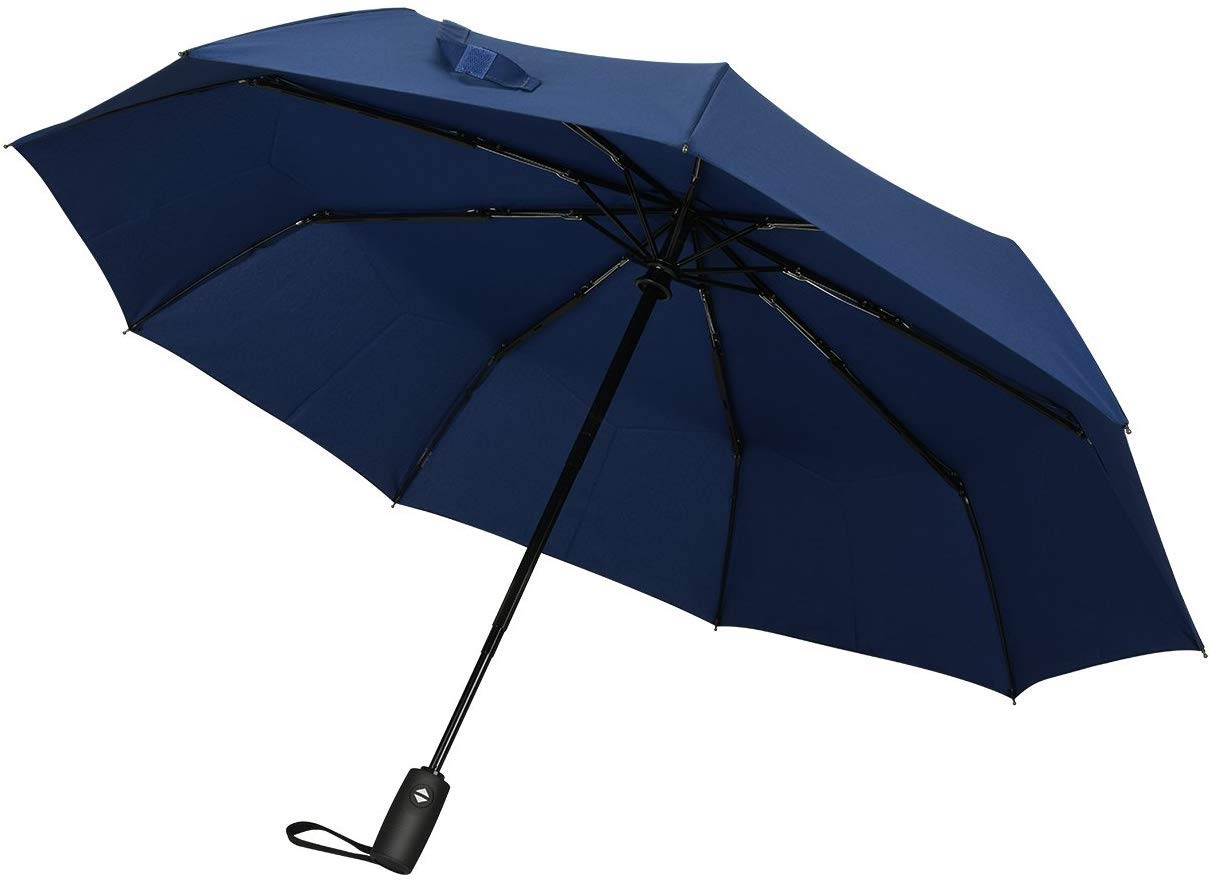 Ganamoda Compact Travel Umbrella-Windproof&Water Repellent with 10 Reinforced Fiberglass Ribs 210T Fabric,Automatic Open&Close Button Blue