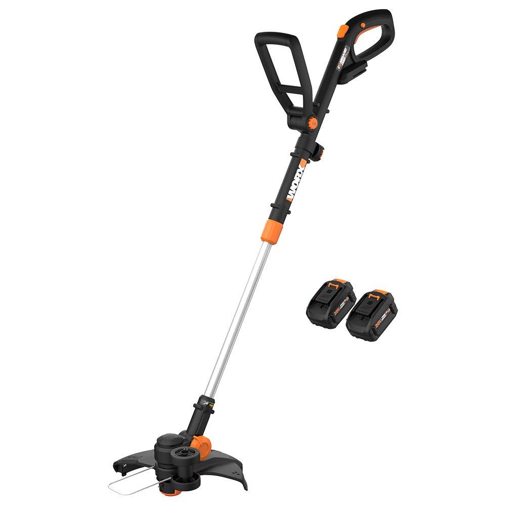 "WORX WG170.1 12"" Grass Trimmer/Edger/Mini-Mower 2 20V 4.0Ah Batteries & Charger Included GT Revolution, Black and Orange"