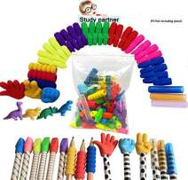 Pencil Erasers Tops Erasers Caps Rock Paper Scissors Caps With Pencil Grips And Pencil Covers Assorted Colors Storage Box (Bonus Dinosaurs Eraser Study Partner) By Tentee go (self-zip bag)