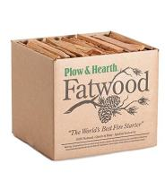 Plow & Hearth Boxed Fatwood Fire Starter All Natural Organic Resin Rich Eco Friendly Kindling Sticks for Wood Stoves Fireplaces Campfires Fire Pits Burns Quickly and Easily Safe Non Toxic (25 LB)