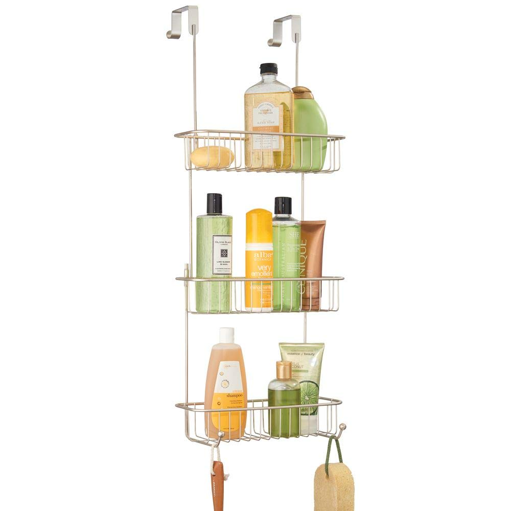mDesign Extra Large Metal Over Shower Door Caddy, Hanging Bathroom Storage Organizer Center with Built-in Hooks and Baskets on 3 Levels for Shampoo, Body Wash, Loofahs - Satin