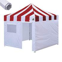 Eurmax Premium 10'x10' Ez Pop-up Canopy Tent Commercial Instant Canopies Shelter with Removable Sidewalls Bonus Wheeled Carry Bag (Striped Red)
