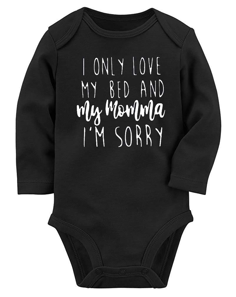 Baby Girls Romper Funny Onesie for Boys Full Sleeve Jumpsuit Soft Organic Cotton Bodysuit I Only Love My Bed and My Momma Playsuit Half Birthday Cute Infant Toddler Layette Outfits 0-3 Months