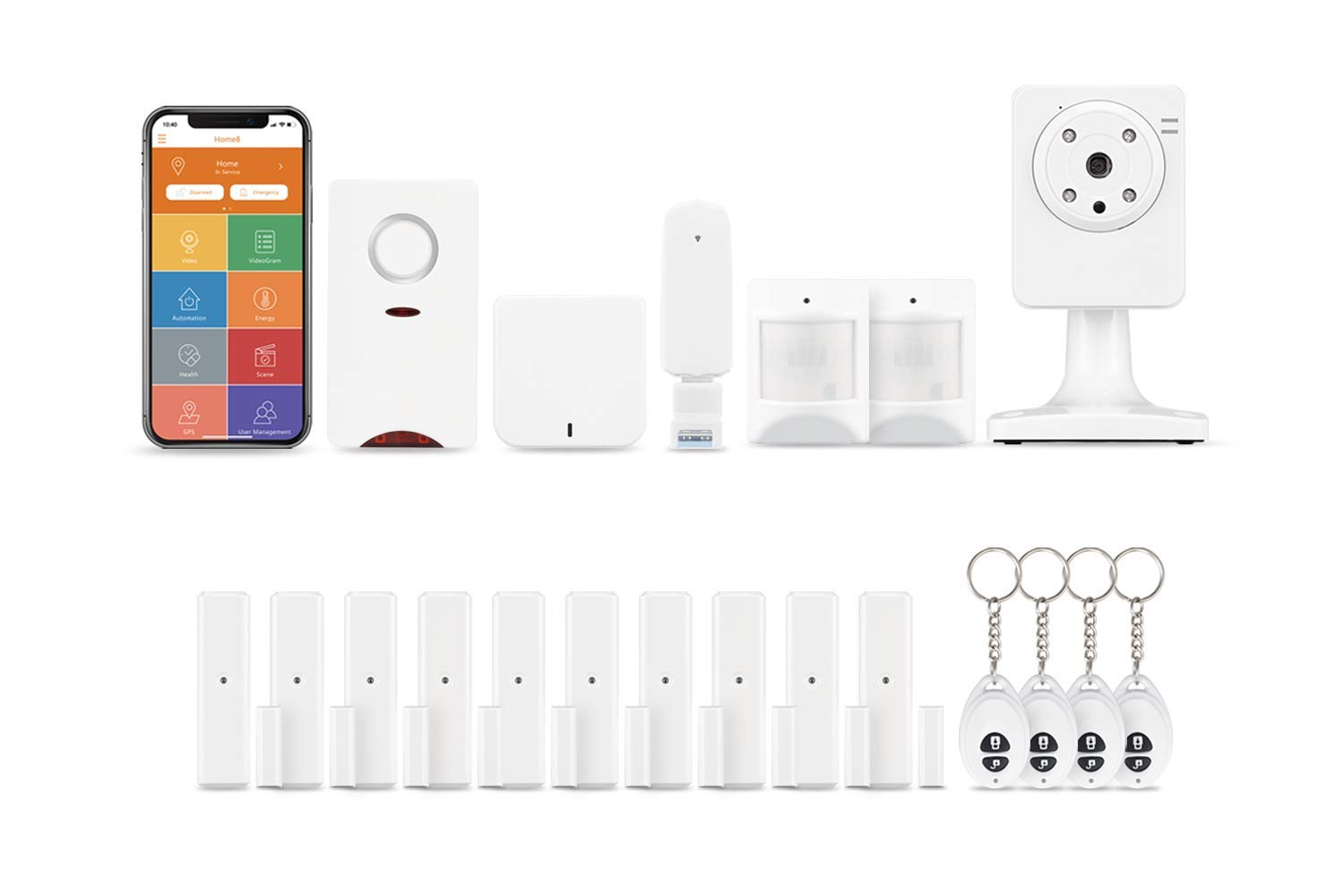 Home8 UltraShield Wireless Security System(1-Cam, 19-Piece Kit),24/7 Professional Monitoring Optional, 1-Cam,10-Contact,2-Motion,4-Keyfob,1-Siren,1-Hub,Compatible with Alexa