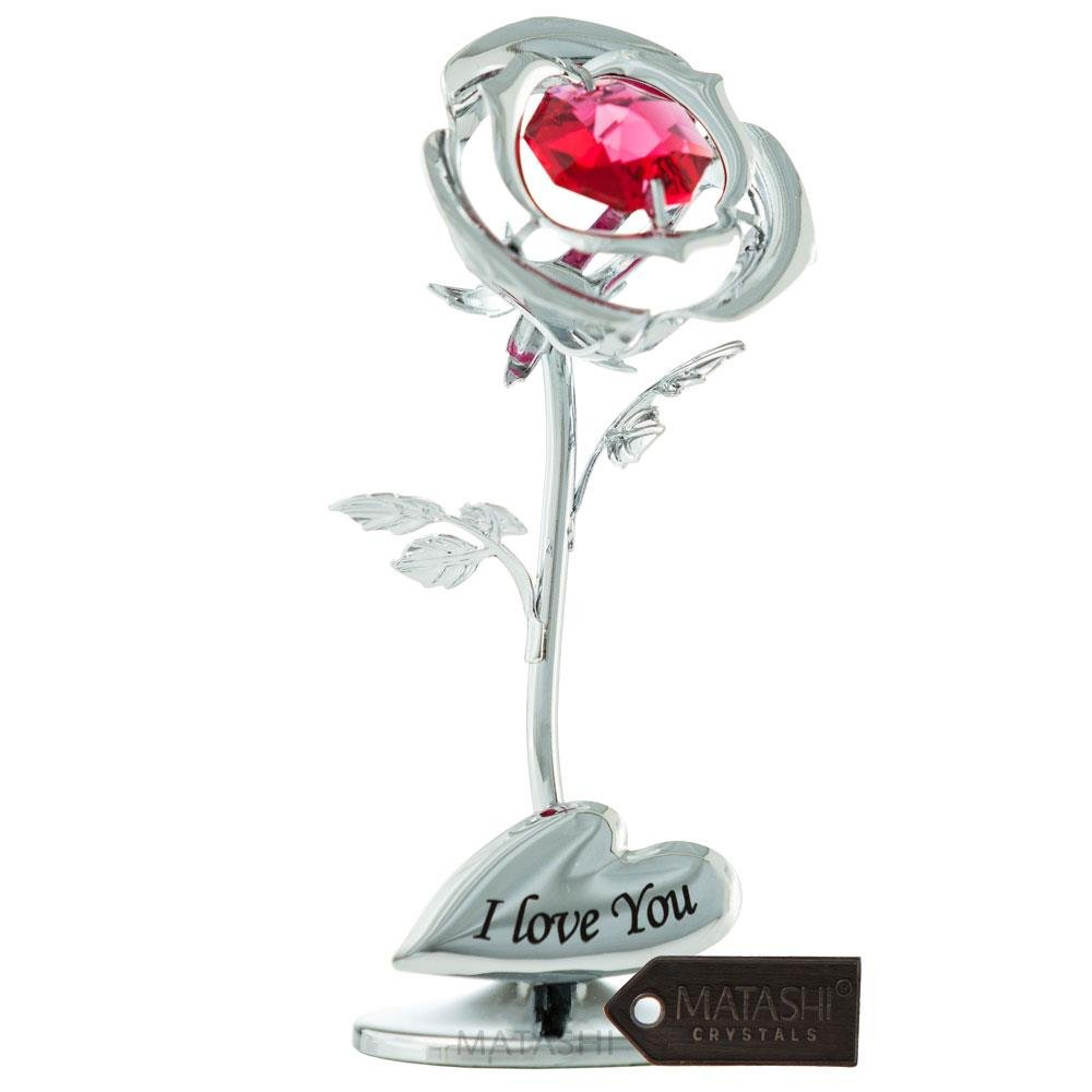 """Silver Chrome Plated 3"""" Rose Flower Valentines Ornament with Red Crystals with I Love You Inscription Metal Decorative Home Decor Birthday Sweet 16 Graduation"""