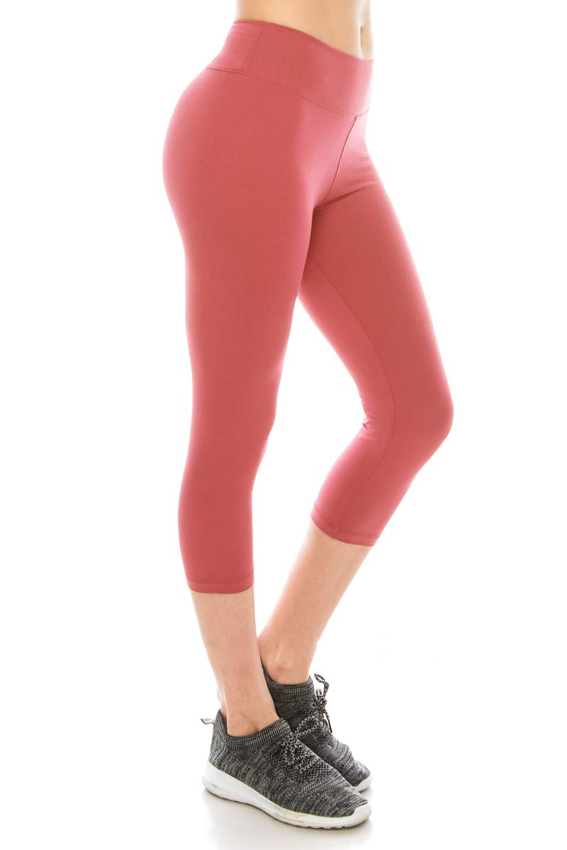 ALWAYS Women High Waisted Capri Leggings - Premium Buttery Soft Stretch Solid Basic Yoga Workout Pants Coral Plus