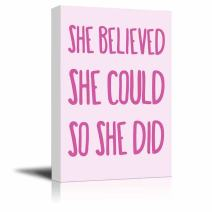 wall26 - Hot Pink Type She Believed She Could So She Did Quote on a Pastel Background - Canvas Art Home Decor - 24x36 inches