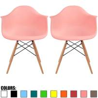 2xhome Set of 2 Coral Pink Mid Century Modern Contemporary Vintage Molded Shell Designer with Arms Plastic Eiffel Chairs Natural Wood Legs DAW Dining Accent Conference Room Desk Ergonomic No Wheels