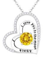 Mother's Day Birthday Gifts Citrine Necklace for Mom Women I Love You to the Moon and Back Jewelry for Wife Sterling Silver Love Heart Necklace