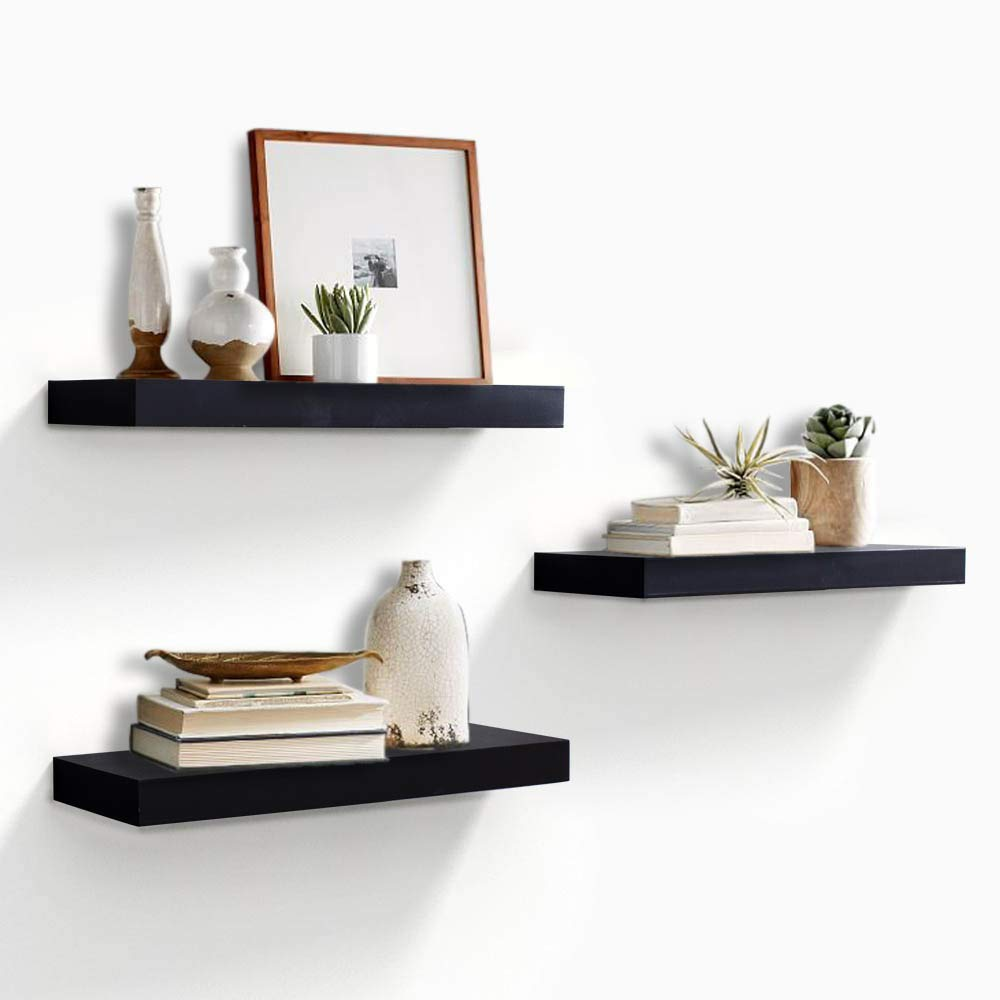"AHDECOR Floating Wall Mounted Shelves, Set of 3 Display Ledge Shelves Wide Panel for Bedroom Office Kitchen Living Room, 5.9"" Deep, Black"