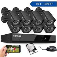 SANSCO 8CH 1080P HD Security Surveillance System DVR Recorder with 8X 2MP Outdoor Weatherproof Bullet Camera, 100ft Night Vision Easy Remote Access Instant Email Alert, 24/7 Recording 1TB Hard Drive