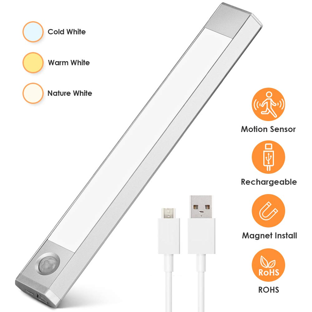 bedee Under Cabinet Lighting Motion Activated LED Closet Light,USB Rechargeable Kitchen Cabinet Lighting with 3 Color Modes,Magnetic Removable Stick-On Anywhere for Wardrobe Cupboard Stairs Counter