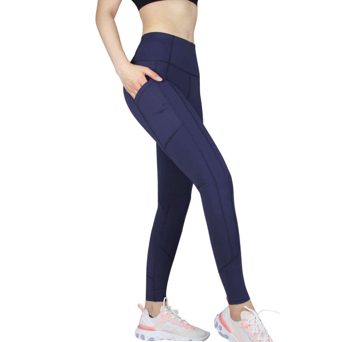 pinziko Women's Winter Running Pants High Waist Tummy Control Yoga Leggings Training Sports Pants with Pockets