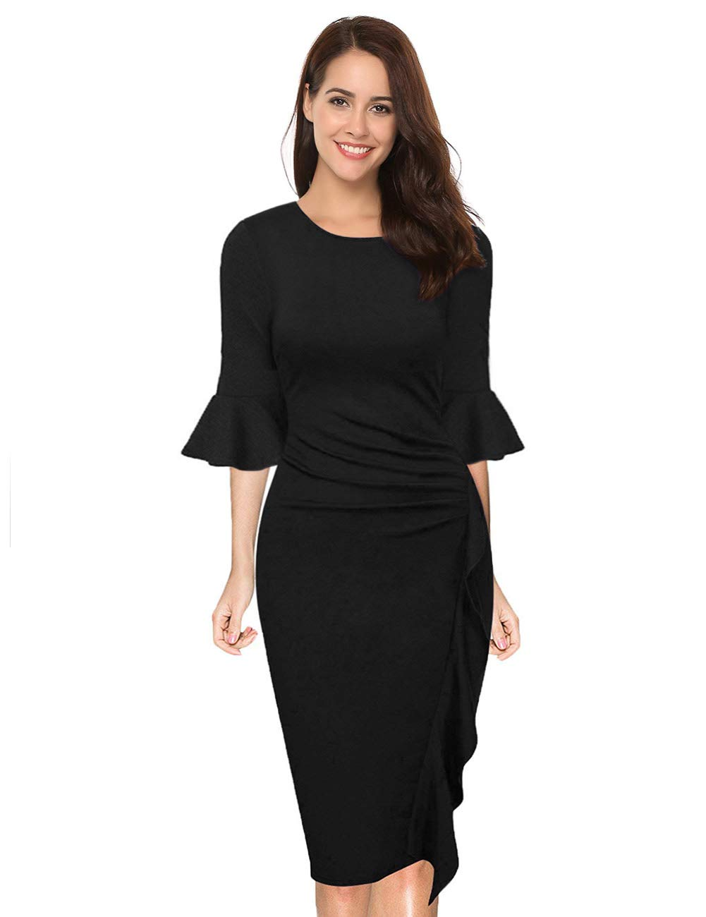 HiQueen Women's Retro Ruffles Wrap Ruched Slim Work Business Cocktail Bodycon Dress