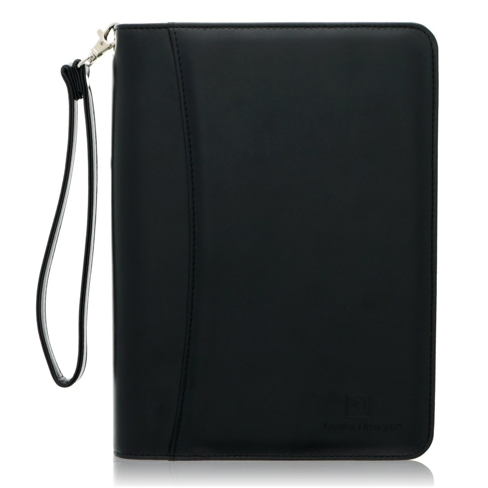 Junior Zippered Business Padfolio with 5x8 Notepad - Black Faux Leather Portfolio Binder & Organizer Folder with 8 Inch Tablet Sleeve by Lautus Designs
