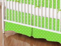SheetWorld - Crib Skirt (28 x 52) - Primary Pindots Green Woven - Made In USA