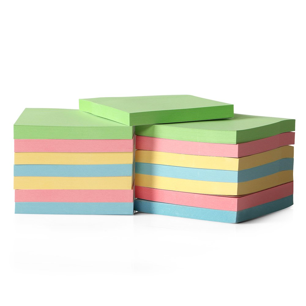 15-Pack Candy Color Super Sticky Notes for Home & Office, 80 Leaves/pad Sticky Notes, Stickies for Memos, 0.7cm Thick Office Notepads, 7.5 x 7.7cm Self Stick Notes, Colorful Sticky Notes for School