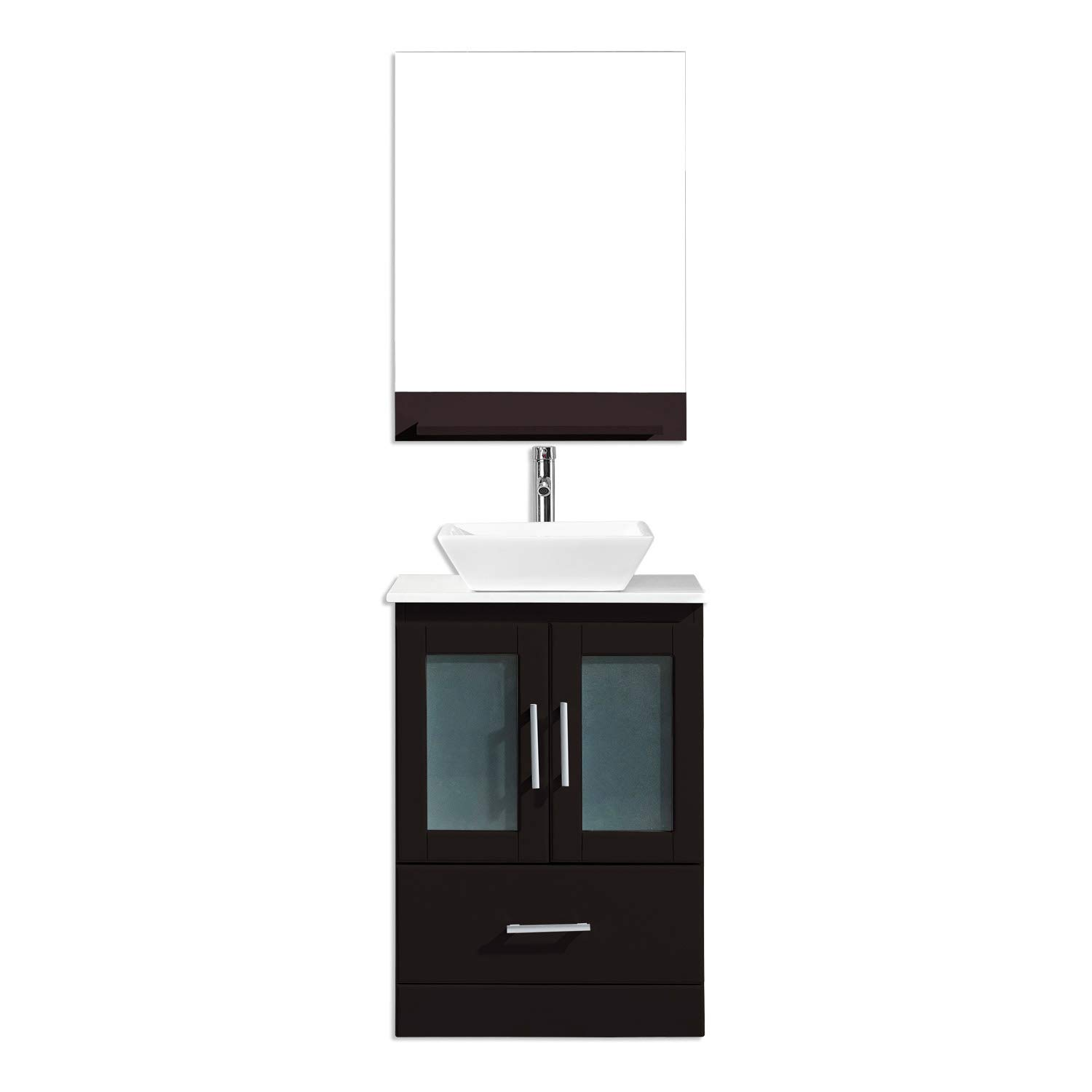 """Virtu USA MS-6724-C-ES-001 Zola 24"""" Single Bathroom Vanity White Ceramic Top and Square Sink with Brushed Nickel Faucet and Mirror, 24 inches, Dark Espresso"""