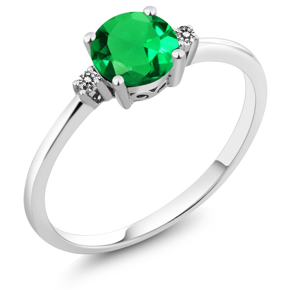 Gem Stone King 10K White Gold Green Nano Emerald and Diamond Accent Women's Ring (0.8 Cttw, Available 5,6,7,8,9)