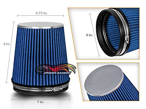 """BLUE 6"""" 152mm Inlet Short Truck Air Intake Cone Replacement Quality Dry Air Filter"""