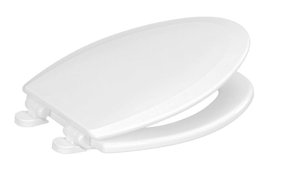 Centoco 900-301 Elongated Wooden Toilet Seat, Heavy Duty Molded Wood with Centocore Technology, Crane White (Cotton/Bright)