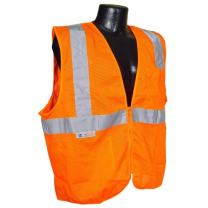 Radians SV2ZOML Polyester Mesh Economy Class 2 High Visibility Vest with Zipper Closure, Large, Orange