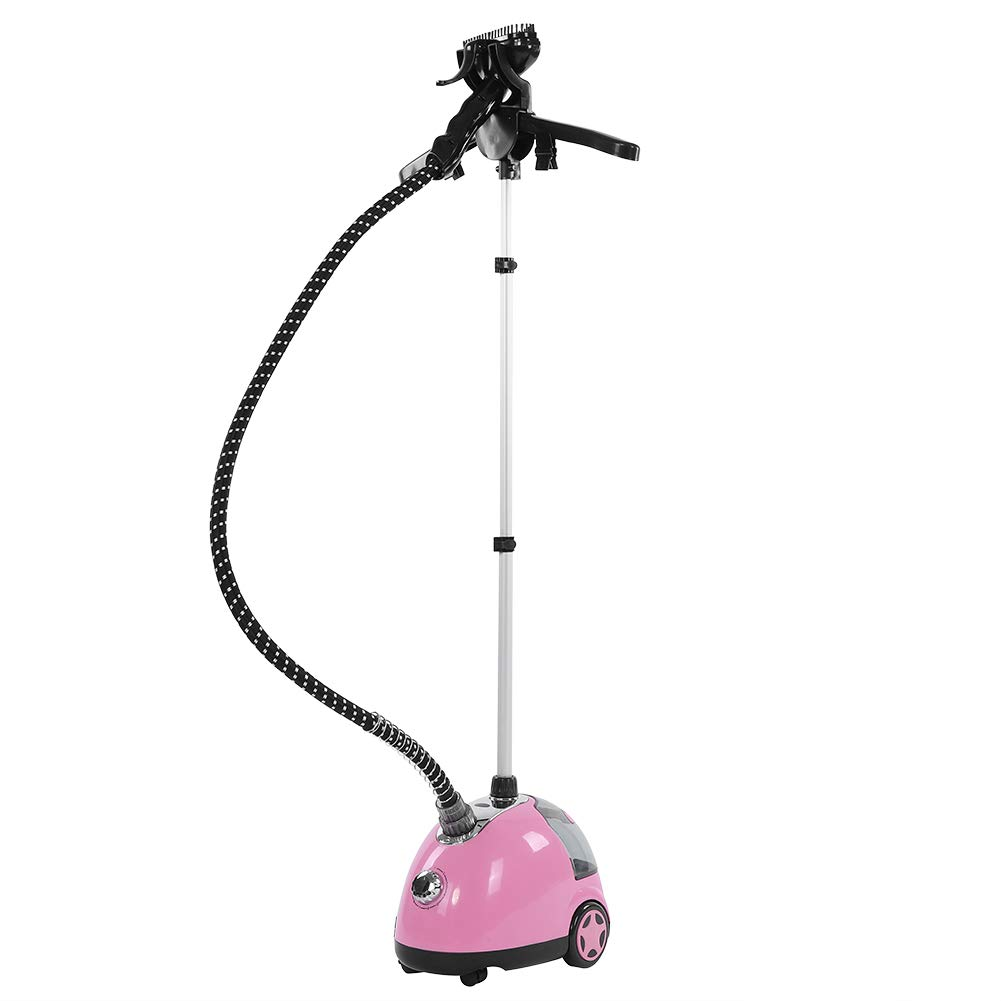 Garment Steamer with Stand, 1300W Heavy Duty Fabric Clothing Steamer Stand up Clothes Steamer with 9 Level Steam Adjustment, Garment Hanger, 1.8L Water Tank and Telescopic Pole for Home Use - Pink