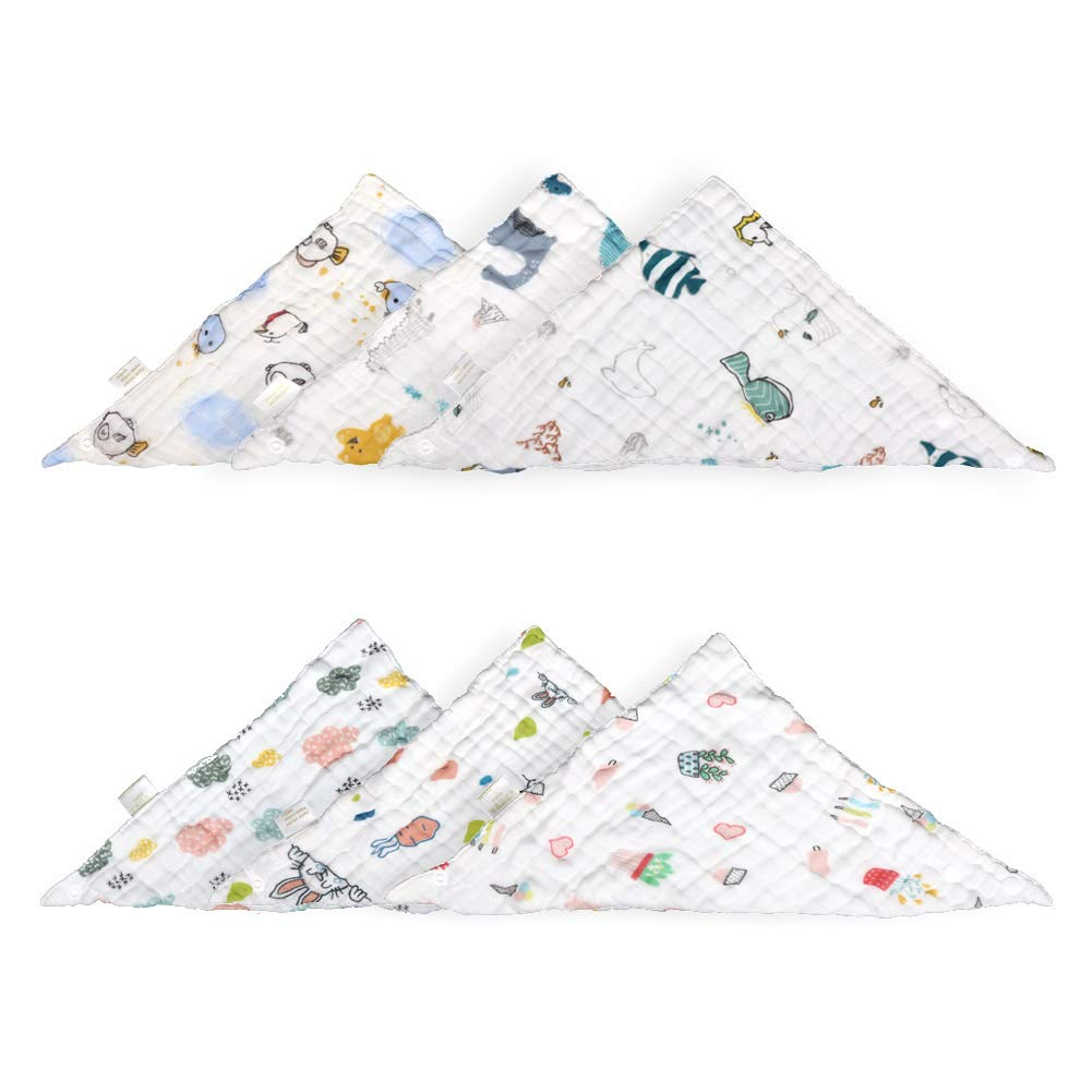 Muslin Bibs,MERLINAE Baby Bandana Drool Bibs 360 Bibs for Boys Girls Newborn Infant for Drooling and Teething,100% Organic Cotton and Super Absorbent Hypoallergenic Pullover Baby Bibs (Triangle)