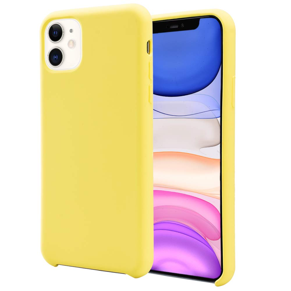 Orzero Liquid Silicone Gel Rubber Case Compatible for iPhone 11 2019, Full Body Shock Absorbing Ultra Slim Protective (Baby Skin Touch) -Lemon Yellow