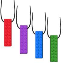4 Pack Sensory Chewing Necklace for ADHD, Teething, Autism, Biting, Oral Motor Chewy Stick/Tube Toy Jewelry for Boys, Girls, Adults, Toddlers(Blue, Green, Purple,Red) by Accmor