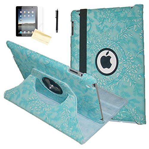 iPad Air Case, JYtrend (R) Rotating Stand Smart Case Cover Magnetic Auto Wake Up/Sleep for iPad Air (Air 1) A1474 A1475 A1476 (Em Blue Flower)