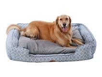 PLS Birdsong Trellis Bolster Dog Bed, Pet Bed, Cat Bed, Light Blue & Gray, Removable Cover, Completely Washable
