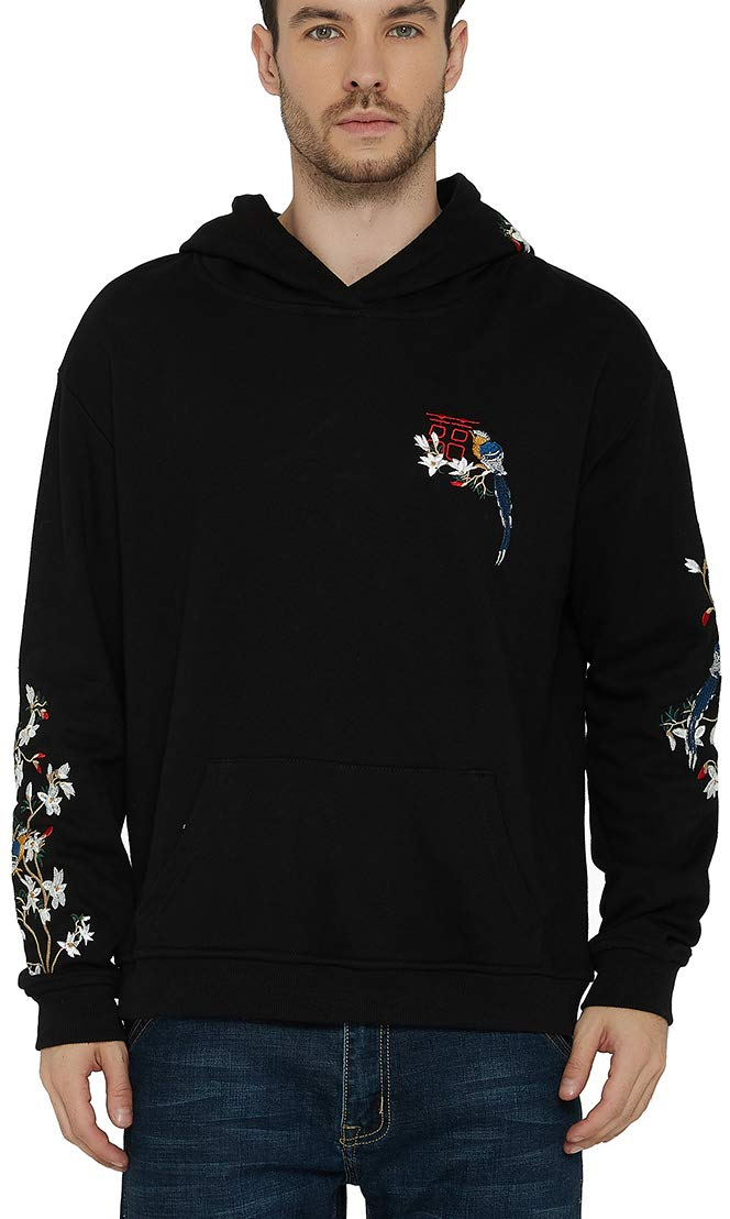 Chaos World Men's Embroidered Hoodie Print Hooded Sweatshirt Unisex Pullover