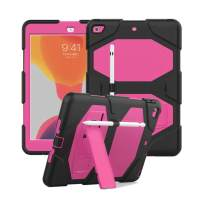 iPad 10.2 Case 2019, CASZONE Dual Layer Heavy Duty Rugged Shockproof Anti-Slip Silicone Full Body Protective Cover for iPad 10.2 inch, New iPad 7th Generation with Pencil Holder/Kickstand - Rose