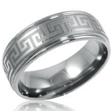 Oxford Ivy Mens Comfort Fit 8mm Greek Key Titanium Wedding Band (Choose Your Ring Size 8-12 1/2)