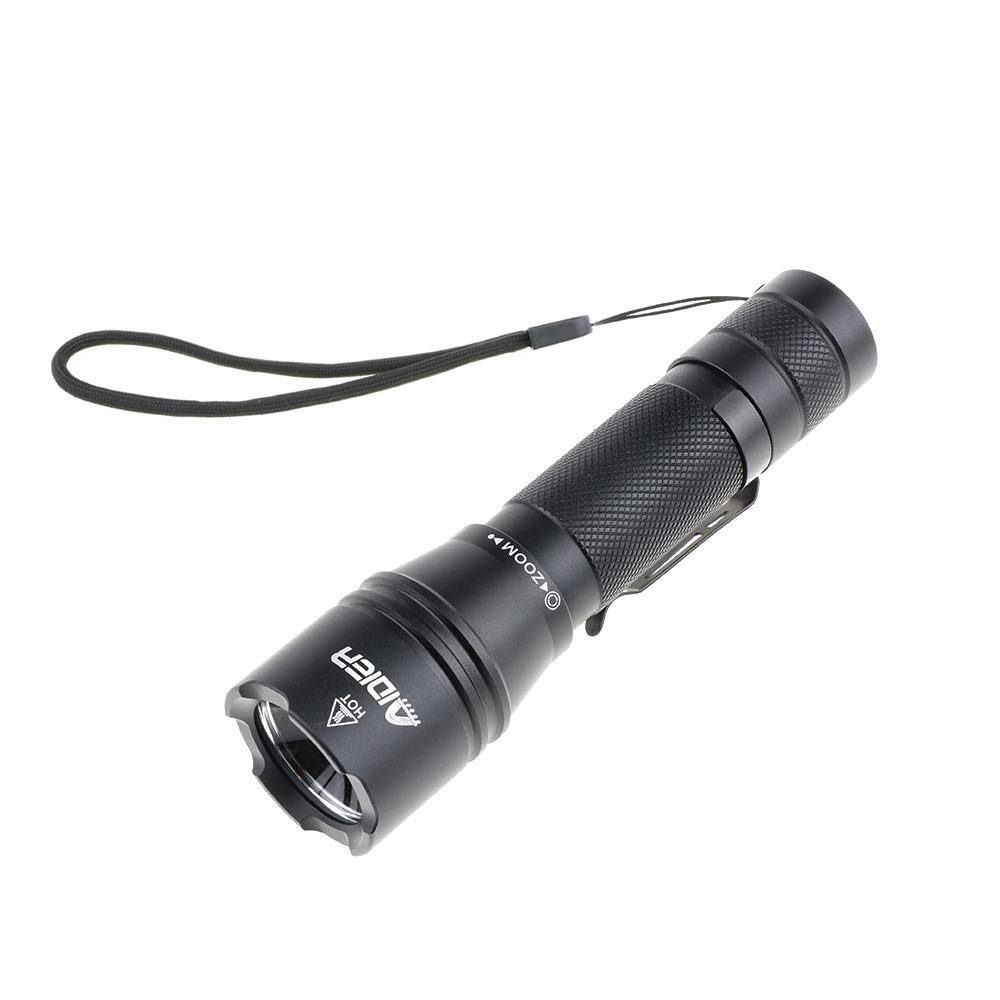 AIDIER TC20 Rechargeable Zoomable LED Flashlight, Pocket-Sized Torch with Super Bright 920 Lumens IP67 Waterproof 6 Lighting Mode and Type-C Charging EDC Flashlight (Battery Not Included)