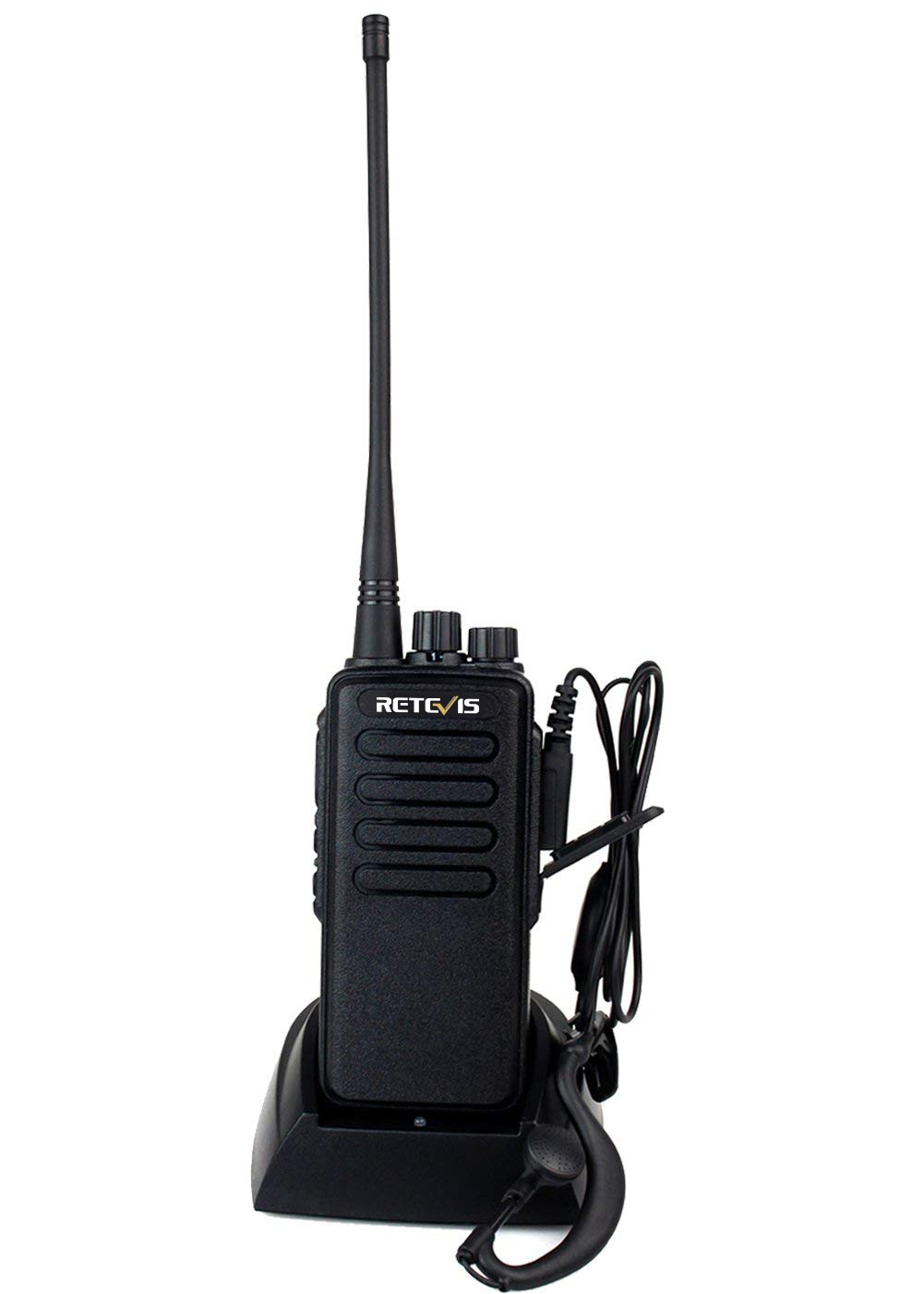 Retevis RT1 Walkie Talkie Long Range High Power UHF 16 Channel Scan VOX Encryption Two Way Radio with Earpiece (1 Pack)