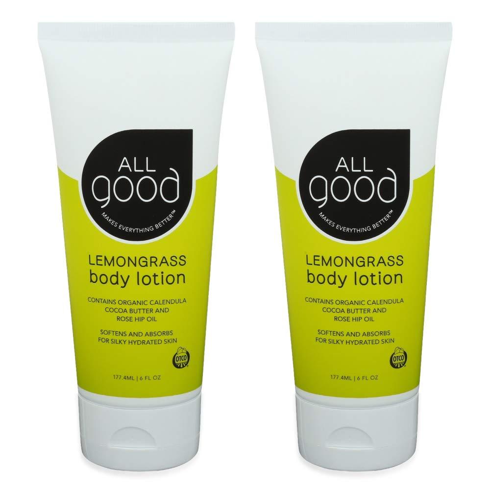 All Good Hand & Body Lotion w/Essential Oils - Moisturizing Organic Lotion w/Calendula, Cocoa Butter, Coconut & Rose Hip Oil - Non GMO - Vegan - 6 oz (Lemongrass)(2-Pack)