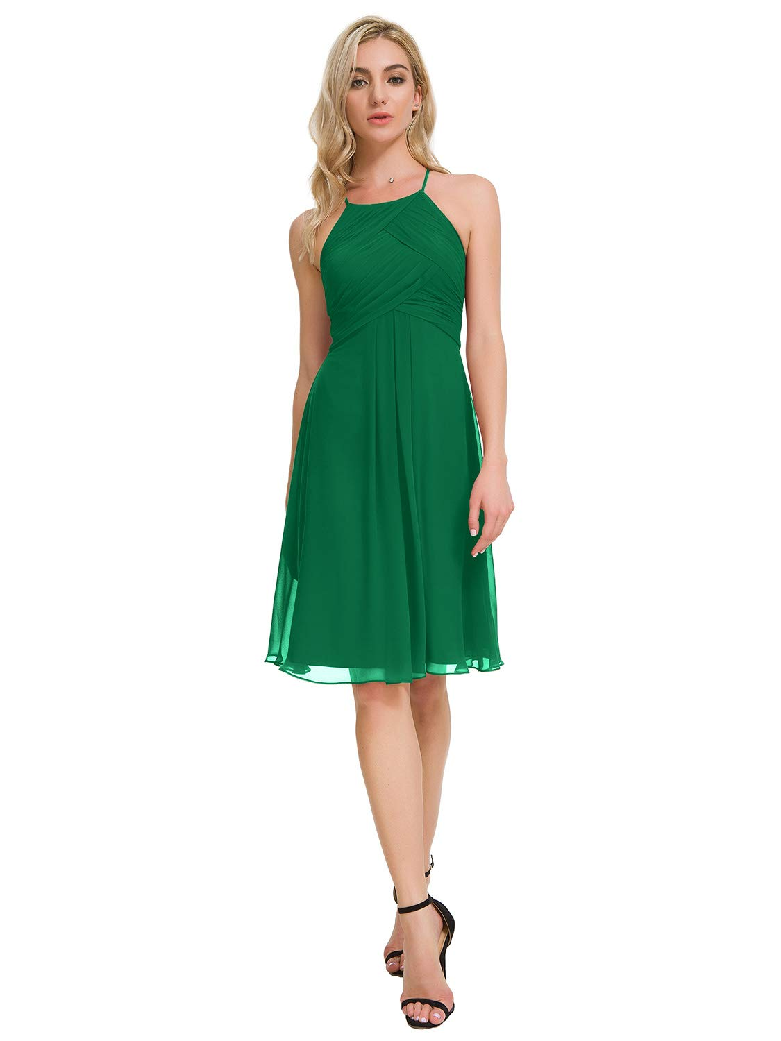 Alicepub Halter Chiffon Bridesmaid Dresses Short Homecoming Formal Party Dress for Special Occasion